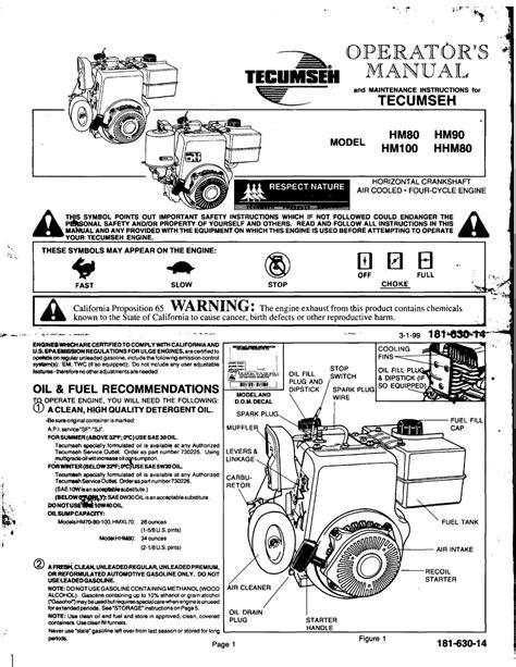 Tecumseh Hm80 159402 Repair Manual