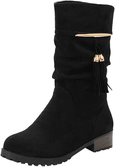 Tefamore Botas Mujer Invierno Tacon Botas Altas Botines Zapatos Con Aumento De Borla Round Toe Flat Tube Martin Boots Botas De Nieve Zapatos Planos