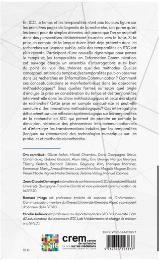 Temps Et Temporalites En Information Communication Des Concepts Aux Methodes