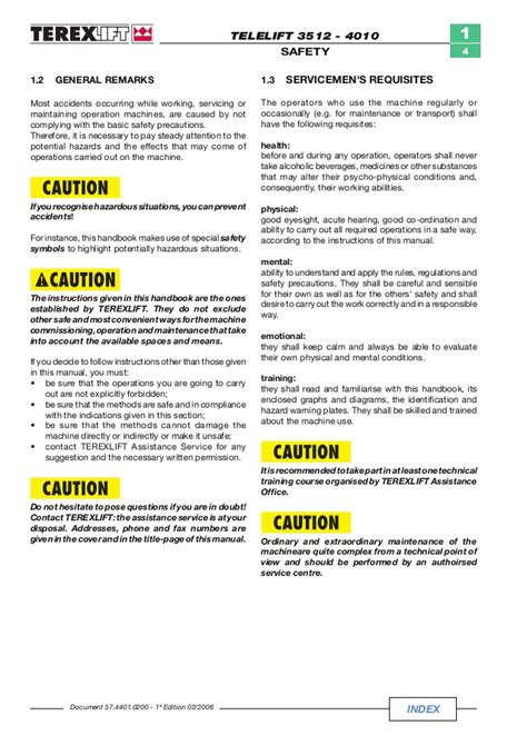 Terex Telelift 4010 Telescopic Handler Repair Service Manual