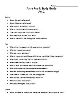 The Diary Of Anne Frank Study Guide Answers