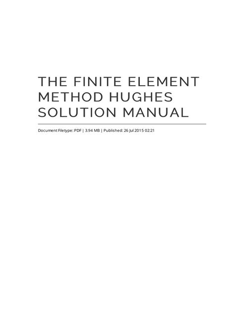The Finite Element Method Hughes Solution Manual