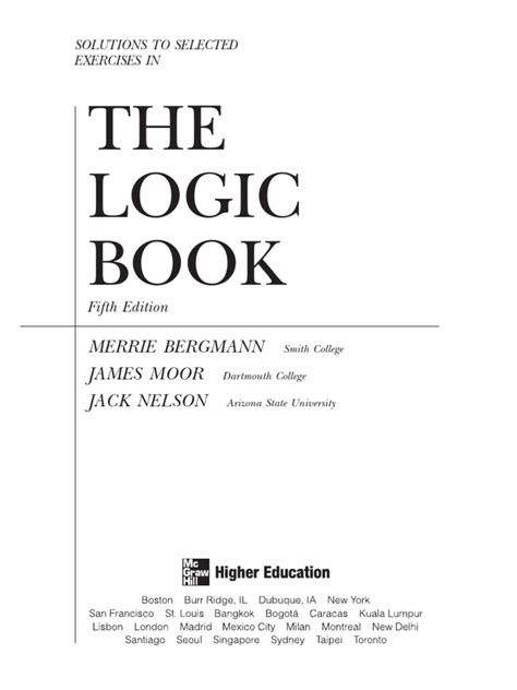 The Logic Book Solution Manual 5th Edition