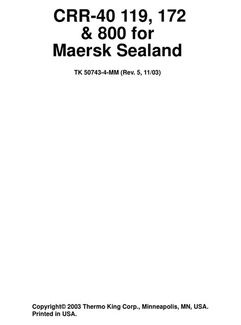 Thermo King Crr 40 Manual