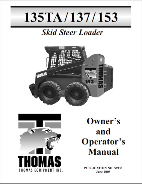 Thomas 135ta 137 153 Skid Steer Loader Operation Maintenance Service Manual 1