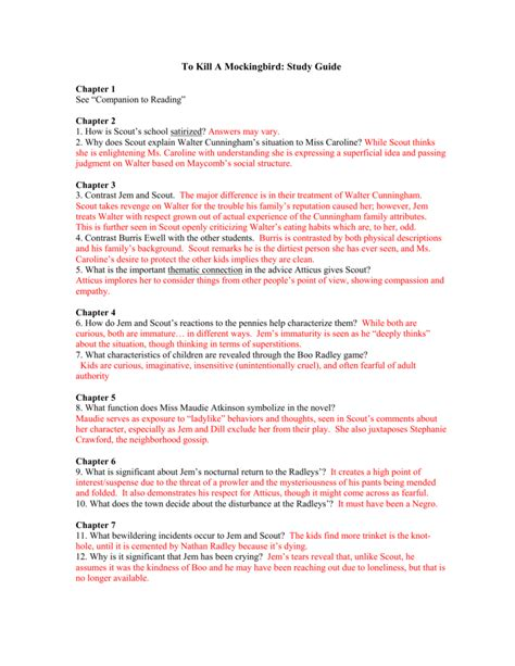 To Kill A Mockingbird Student Guide Answers