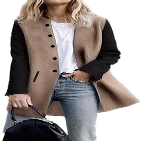 Toamen Cardigan Veste Femmes Long Manteau Coutures De Couleur Contrastee Manche Longue Decontractee Poids Leger L Gris