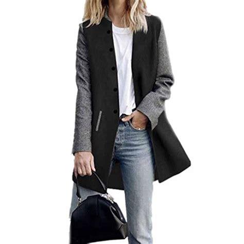 Toamen Cardigan Veste Femmes Long Manteau Coutures De Couleur Contrastee Manche Longue Decontractee Poids Leger L Kaki