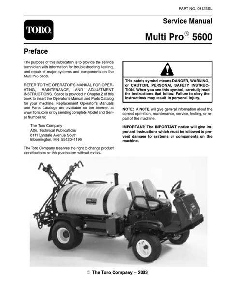 Toro Multi Pro 5600 Service Manual