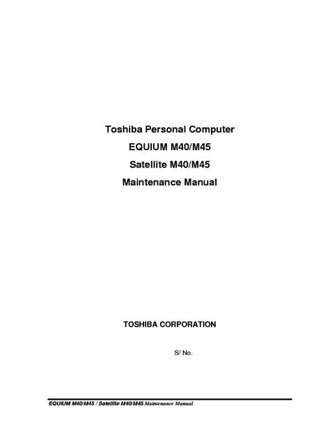 Toshiba Equium M40 M45 Service Manual Repair Guide