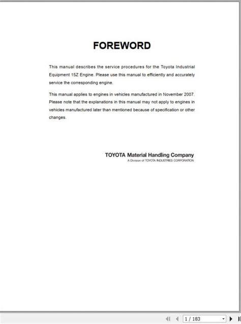 Toyota 15z Engine Manual