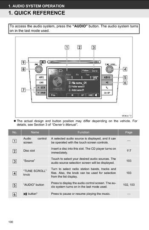 Toyota Audio System Manual