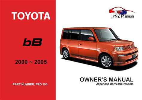 Toyota Bb Owner Manual 2002