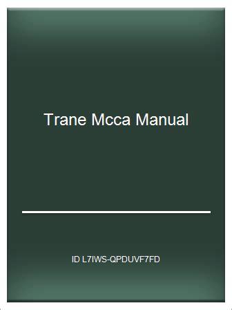 Trane Mcca 025 Manual