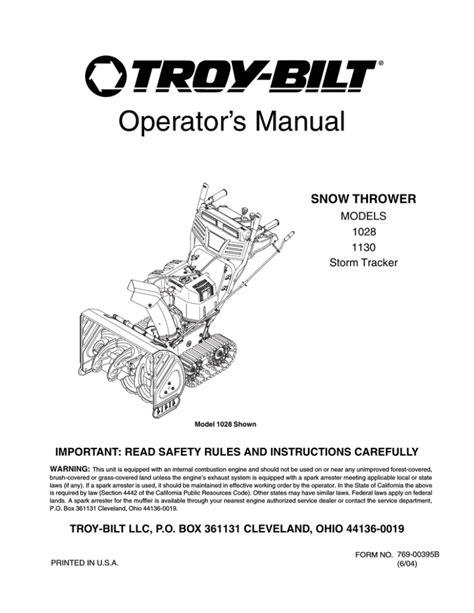 Troy Bilt Blower Manual