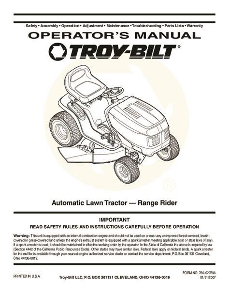 Troy Bilt Garden Tractor Repair Manual