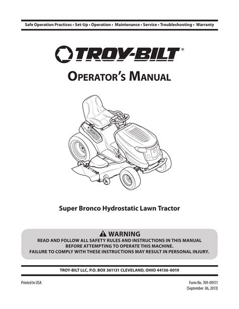 Troy Bilt Super Bronco Lawn Tractor Repair Manual