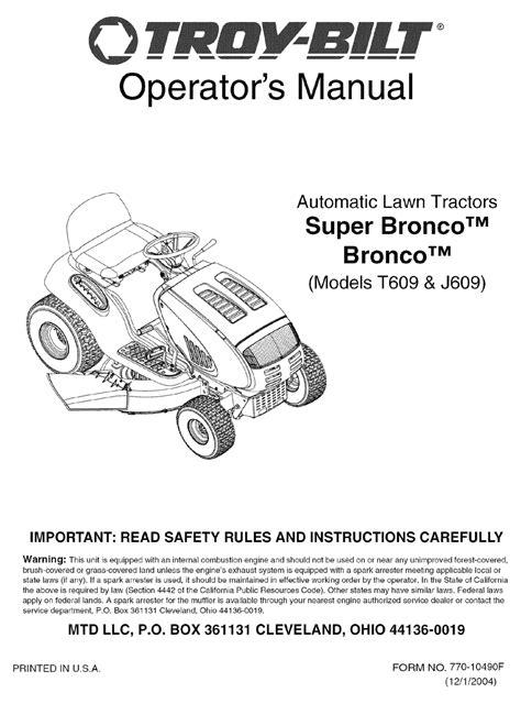 Troybilt Bronco Parts Manual