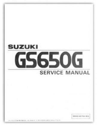 U99000 85700 0e3 1981 1982 Suzuki Gs650g Service Manual