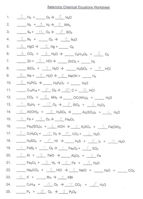 Unit 7 Balancing Chemical Reactions Worksheet 2 Answers