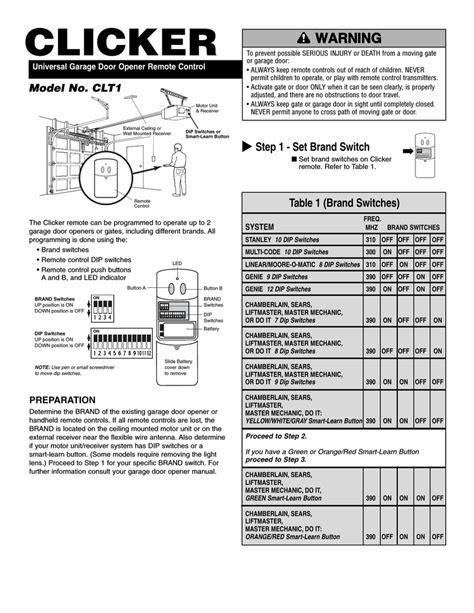 Universal Garage Door Opener Manual