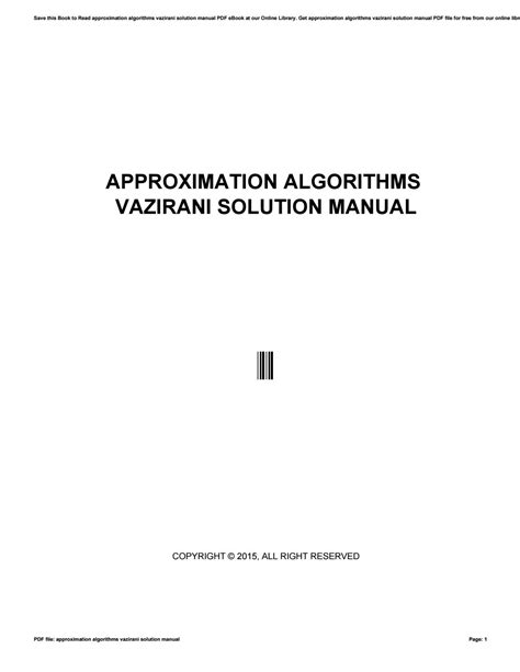 Vazirani Approximation Algorithms Solution Manual