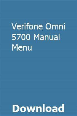 Verifone Omni 5700 Service Manual