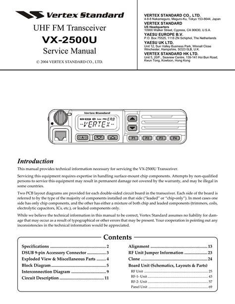 Vertex Yaesu Vx 2500u Service Repair Manual