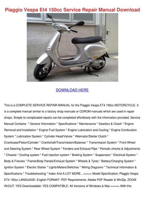 Vespa Et4 50 2001 Repair Service Manual
