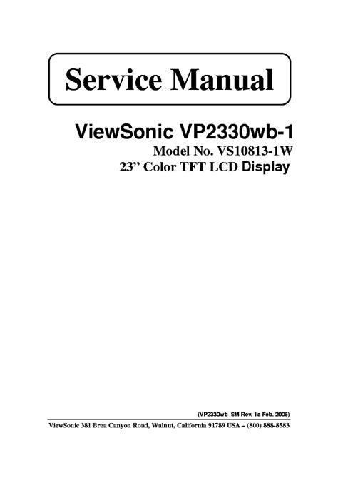 Viewsonic Vp2330wb 1 Lcd Monitor Service Manual