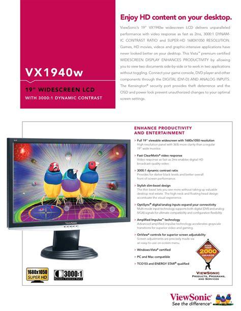 Viewsonic Vx1940w 34 Tft Lcd Display Service Manual