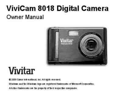 Vivicam 8018 Digital Camera Manual