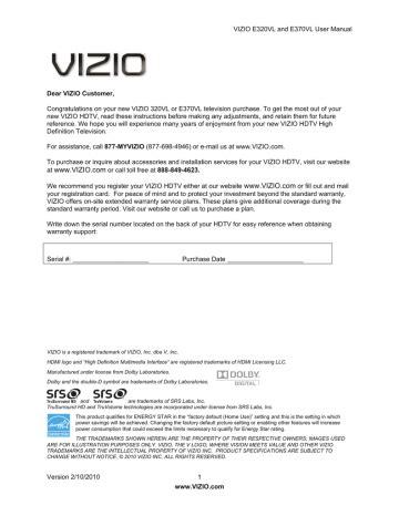 Vizio E370vl Owners Manual