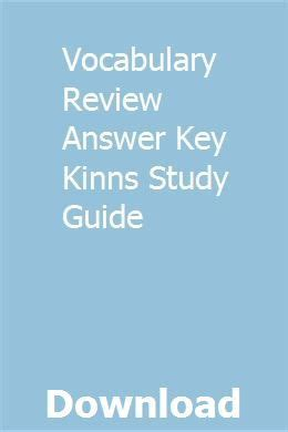 Vocabulary Review Answer Key Kinns Study Guide