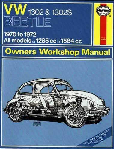 Volkswagen Super Beetle 1970 To 1972 Owners Workshop Manual