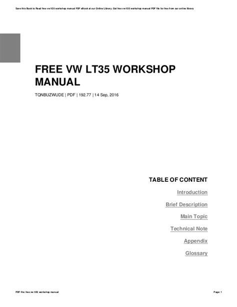 Vw Lt 35 Workshop Manual