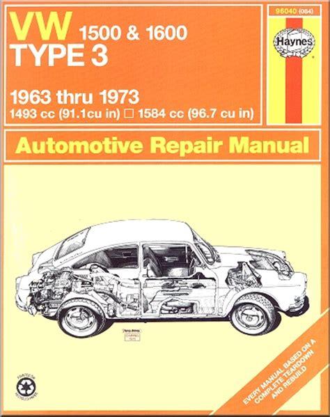 Vw Type 3 1500 1600 6373 Haynes Repair Manual