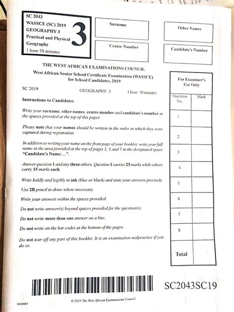 Waec Past Question And Answer For Geography