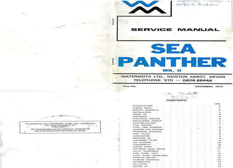 Watermota Sea Panther Mkii Mk2 Service Manual