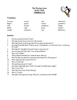 Westing Game Study Guide Questions And Answers