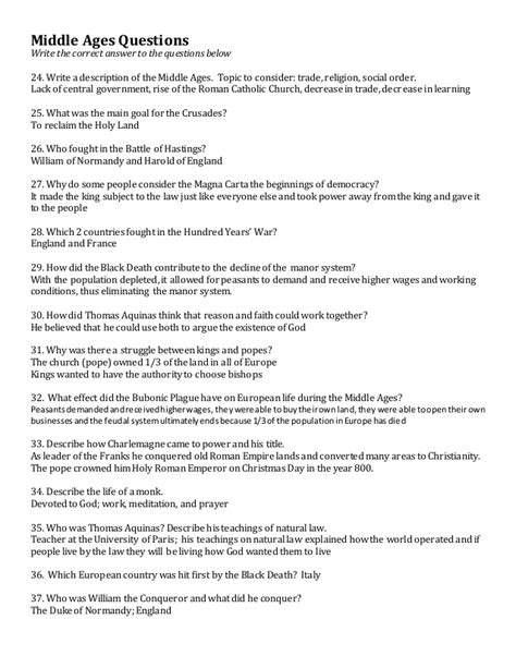 World History Middle Ages Study Guide Answers