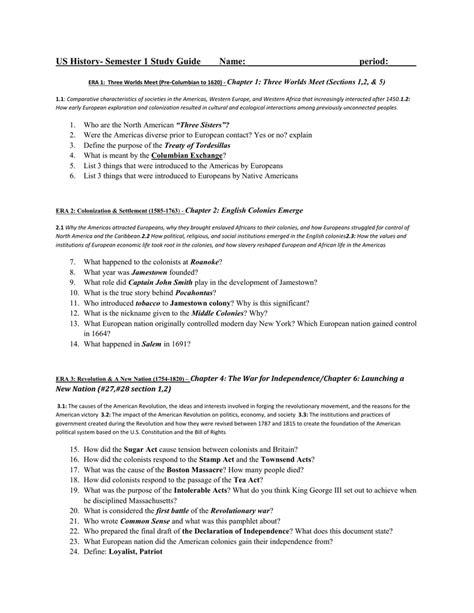 World History Modern Era Study Guide Answers