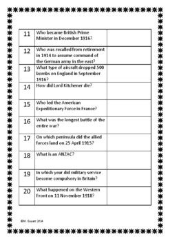 World War 1 Questions And Answers