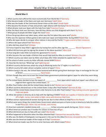 World War 2 Study Guide Answers
