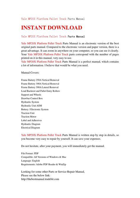 Yale Mp20x Platform Pallet Truck Parts Manual