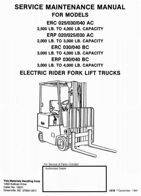 Yale Nor 030 Ac Electric Forklift Factory Service Workshop Manual