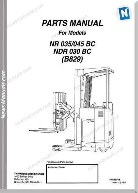 Yale Nr 045 Ad Electric Forklift Factory Service Workshop Manual