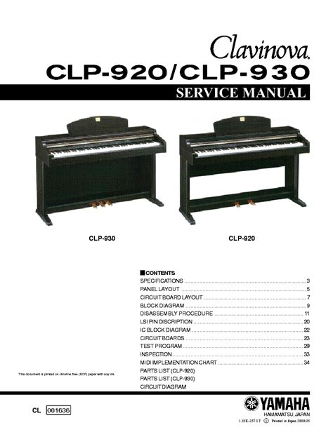 Yamaha Clavinova Clp 920 930 Service Manual Repair Guide