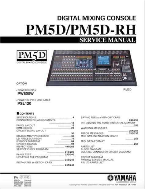 Yamaha Pm5d Pm5drh Pm Pm5 Pm 5d Complete Service Manual