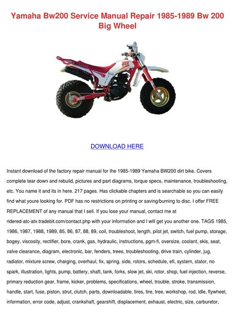 Yamaha Pw80 Big Wheel Service Repair Manual 1985 1989